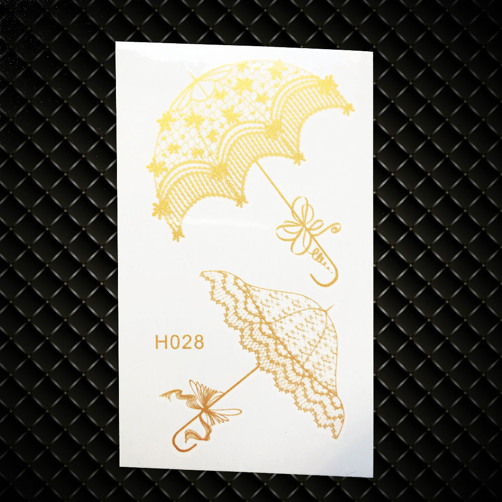 Umbrella Designs Fake Flash Metallic Temporary Tattoo Women Body Art Arm Legs Tatoo Stickers GGH028 Kids Gold Waterproof Tattoos