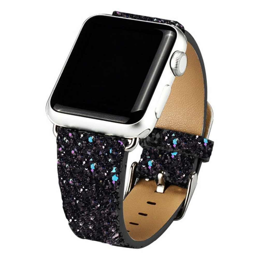 For Apple Watch Band 38/42/40/44mm Glitter Bling Replacement Leather Bracelet for Apple Watch Series 5 Series 4 3 2 1 Strap