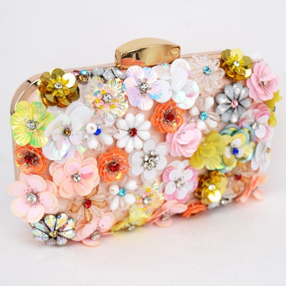 Fashion Newest Pink Flower Clutch Bag Women Evening Bag Chain