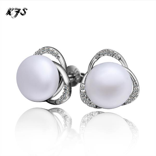 Fashion Pearl Stud Earrings For Women Ball Artificial Pearls S925 Silver Cz Diamond Wedding Jewelry In From