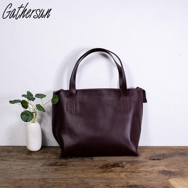 Gathersun Brand vintage handbag handmade  women genuine leather casual totes cross body cowhide shoulder bag ladies bag