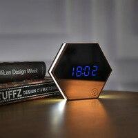 Multifunction Mirror Glass Alarm Clock With LED Nightlight 4 In 1 Make Up Mirror Wall Clock