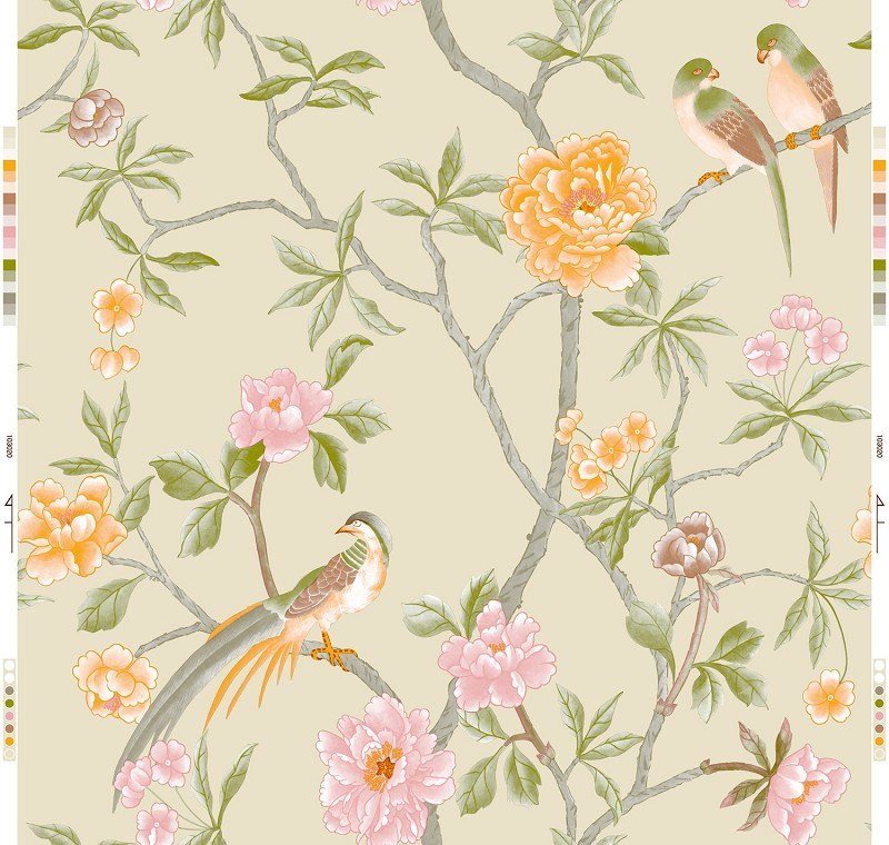 Modern chinese style wallpaper mural entranceway bird for Chinese wallpaper mural