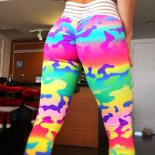 Colorful Camouflage High Waist Outdoor Push Up Workout Fitness Leggings Female Sportswear Elastic Force Breathable Lady