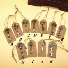 110 шт / Лот Смешанные 11 Стили Бронзовый Металлический скелет Ключ Shaped Vintage Copper Key Bottle Opener Wedding Party Present Tag Cards