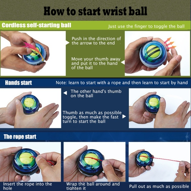 Wrist Ball Gyroscope Powerball Wrist Exerciser Power Strengthener Force Ball Gyro Athletic Wristball Hand Spinner with LED Speed 6