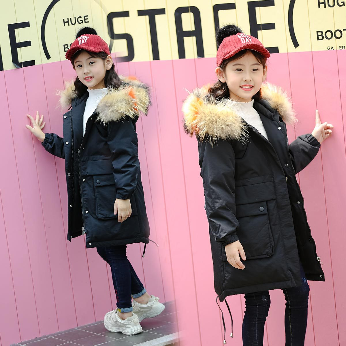 Children down jacket girls in long cuhk han edition girl child upset the new 2018 children's wear winter coat girls down jacket long in the new fashion winter 2017 female children upset han edition tide leisure coat