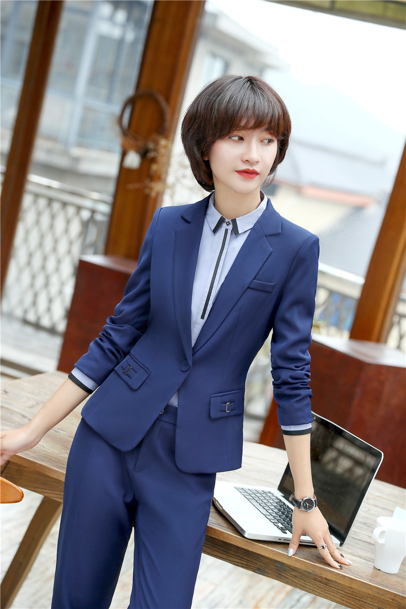 Navy Blue Formal 2 Piece With Jackets And Pants For Ladies Pantsuits Career Blazers Pants Suits Trousers Sets Newest 2018 Styles