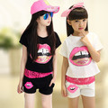 Girls Summer Clothing Set Kids Clothes 3 Pieces Set Lace Tank Top & T-shirt & Shorts Sets Summer Style 6 8 10 12 14 16 years