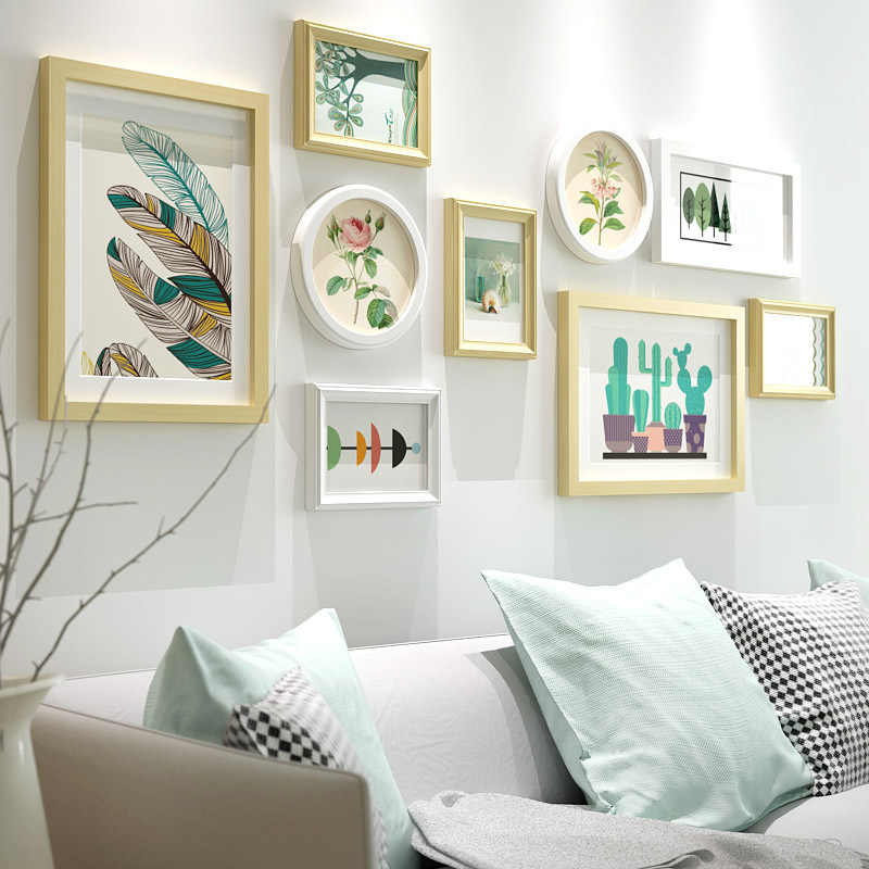 9pcs White Photo Frames For Home Living Dining Room Wall Decor Modern Picture Set