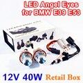 1 Unidades 2*20 W 40 W LED Marker Angel Eyes Caja Al Por Menor 7000 K XENON Blanco para E39 E53 E60 E61 E63 E64 E65 E87