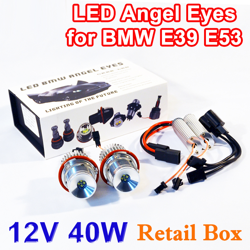 Flytop 1 Set 2*20W 40W LED Marker Angel Eyes Retail Box 7000K XENON White for E39 E53 E60 E61 E63 E64 E65 E87 parnis 43mm black dial automatic self wind movement power reserve men s watch mechanical watches wholesale gl17a
