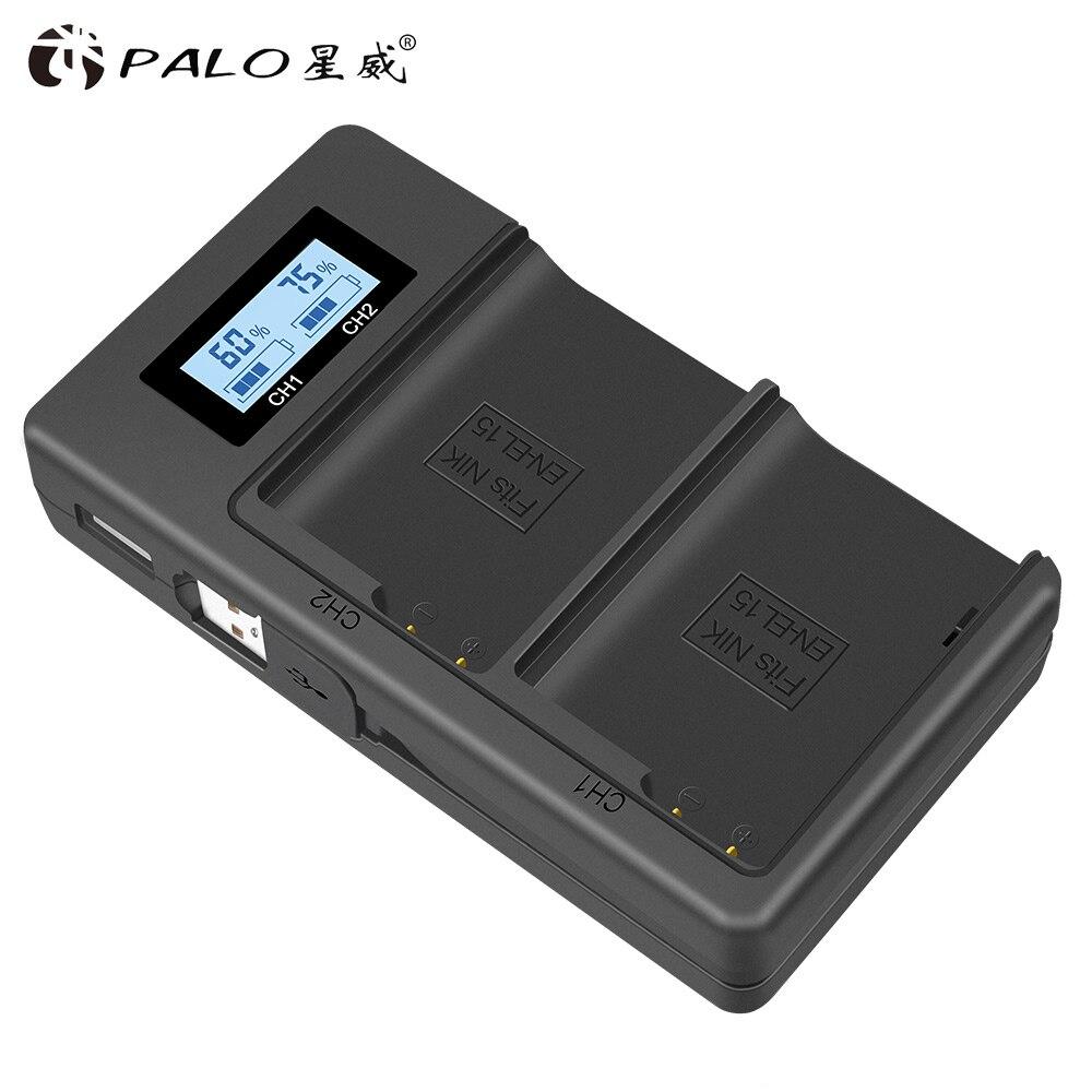 PALO es EL15 ENEL15 EN-EL15 LCD cargador Dual para Nikon D500... D600... D610... D750... D7000... d7100... D7200... D800... D800E... D810... D810A v1