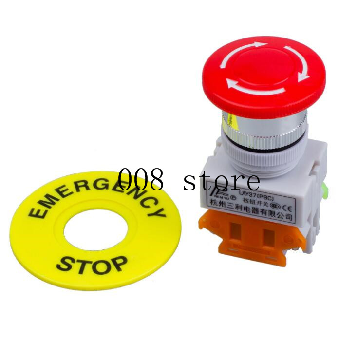 1pcs 1NO 1NC DPST Emergency Stop Push Button Switch AC 660V 10A Switch Equipment Lift Elevator Latching Self Lock Red Mushroom c ui 660v ith 10a red mushroom button momentary pushbutton switch dpst