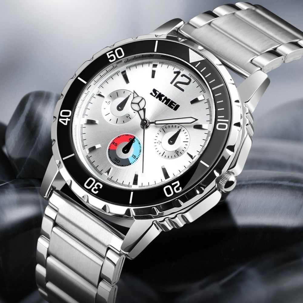 SKMEI di Marca di Lusso Della Vigilanza di Sport di Modo Degli Uomini Orologio Da Polso Impermeabile In Acciaio Inox Wristband Orologi Al Quarzo Reloj Mujer