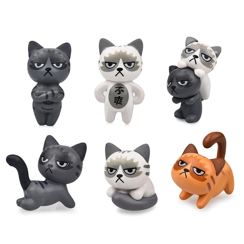 6pcs/ Set Fairy Garden Ornaments Miniature Resin Grumpy Cat Bonsai Dollhouse Decoration bison rolling grill