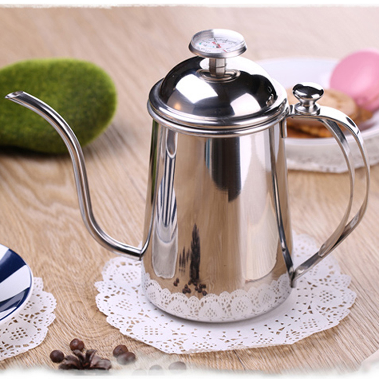 1pcs 0 5L Silver Tea and Coffee Drip Kettle pot with Thermometer stainless steel gooseneck spout