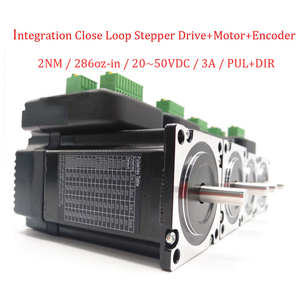 4pcs/ Lot DC36V Nema23 2Nm Integrated Closed Loop Stepper Driver+ Motor+ Position Encoder High Torque High Stability PUL+DIR nema23 2nm 283oz in integrated closed loop stepper motor with driver 36vdc jmc ihss57 36 20