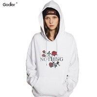 Godier Hot Sale Women Nothing Letter Print Rose Sweatshirts Winter Casual Hoodies Sweatshirts White Gray Punk