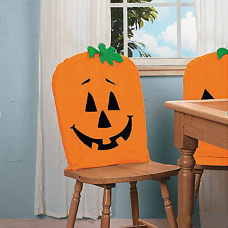 Charmant 1Pcs Halloween Chair Cover Cute Cartoon Pumpkin Dining Chair Back Covers  Halloween Party Table Decorations Chair Cover Case In Party DIY Decorations  From ...