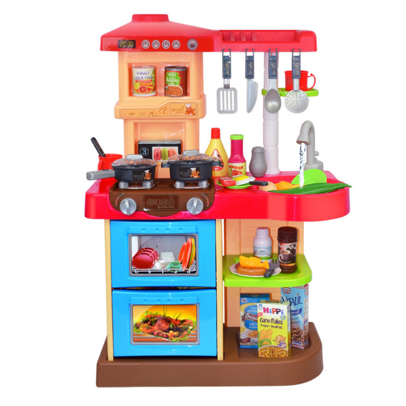 New 2 Types 1 Sets 37 Pcs Kitchen Plastic Pretend Play Food Children Toys With Music And Light Height is about 72 cm Toys Gifts