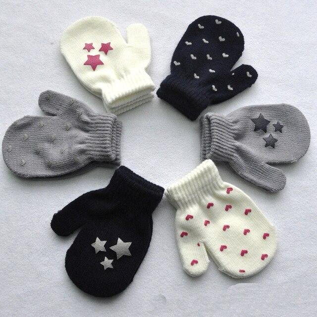 Kids Boys Girls Toddler Cute Gloves Dot Star Heart Pattern Mittens