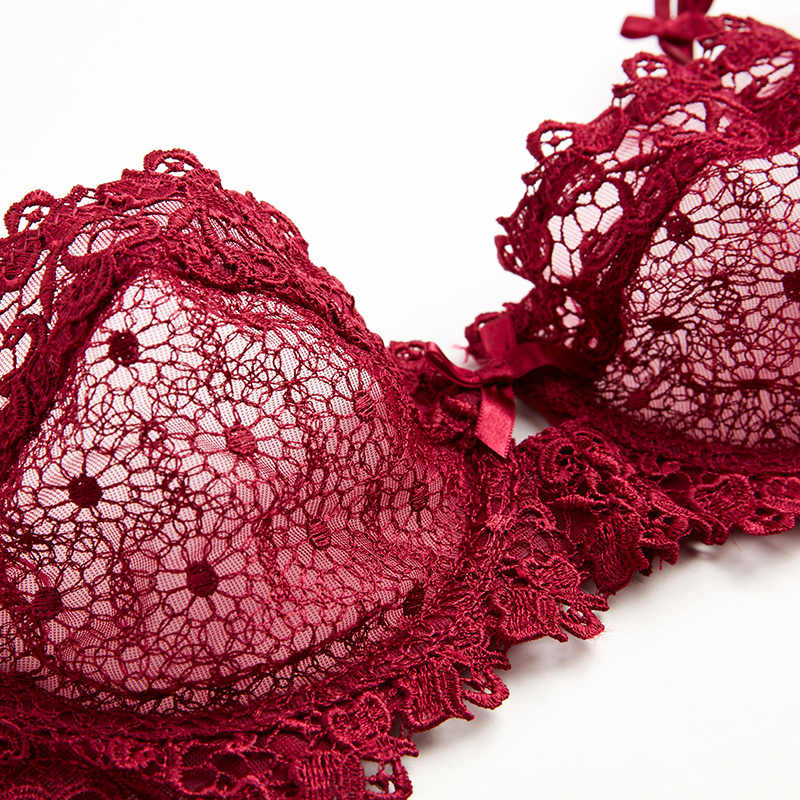 1b8b11799 ... Shaonvmeiwu Transparent bra set lingerie female slim cup sexy lace red  wedding embroidery bra large size ...