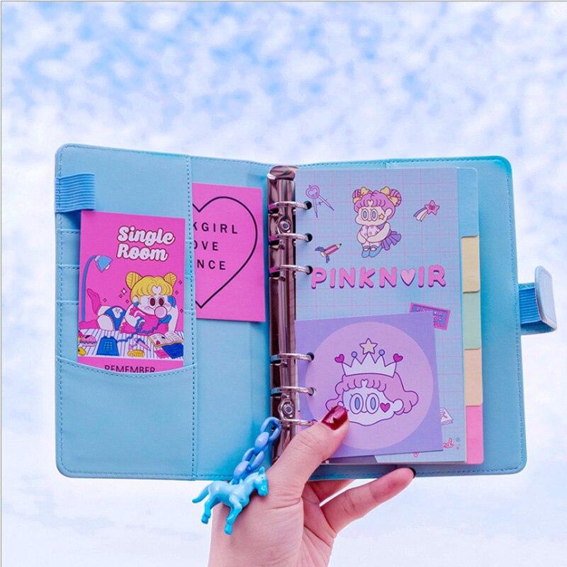 Ins rosa manual manual do coração da menina definir pequeno macaron fresco caderno diário de viagem