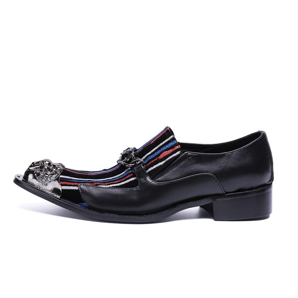 Christia Mariage D'étape Richelieus Usage Glissement Cuir Véritable Hommes D'affaires En Sur Partie Noir Orteil Robe Chaussures Métal De Italien Bella rxUrqwTZS