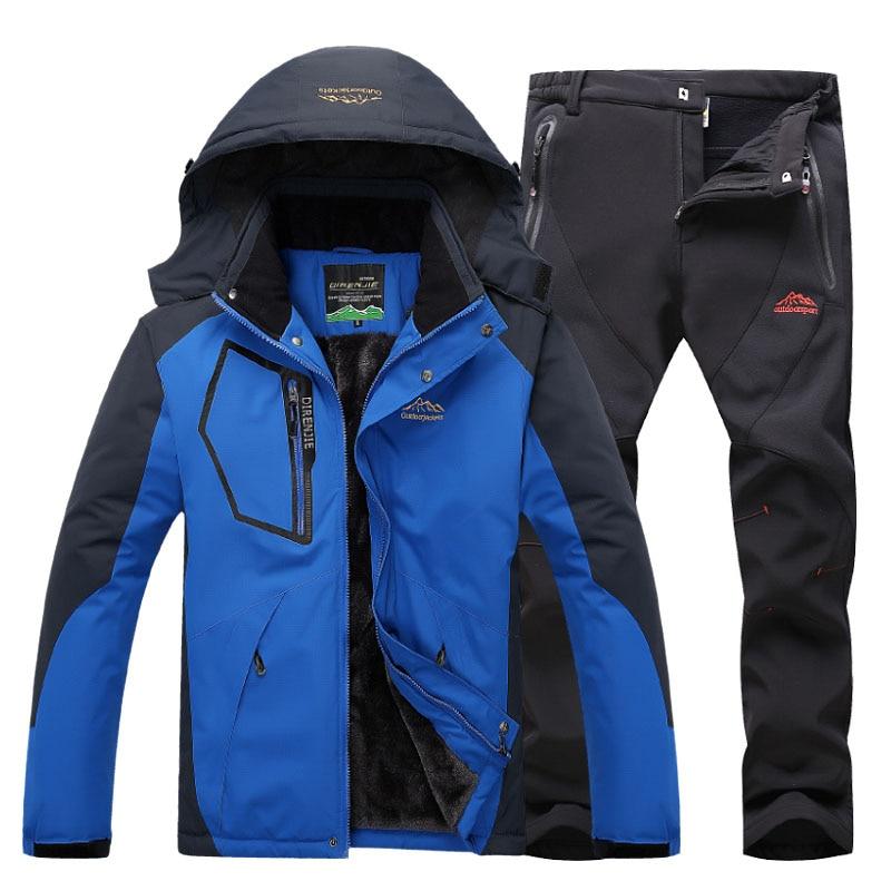 Ternos Jaqueta Homens de Esqui No inverno Térmica Velo jaqueta Corta-vento Impermeável Ao Ar Livre Caminhadas Esqui Snowboard Casaco + calça 2 pcs conjuntos