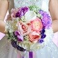 2016 Moda ramo de mariage rosa et blanc Cinta Hecha A Mano de La Boda Ramo de Flores de Seda de dama de Honor de La Boda Accesorios Formales