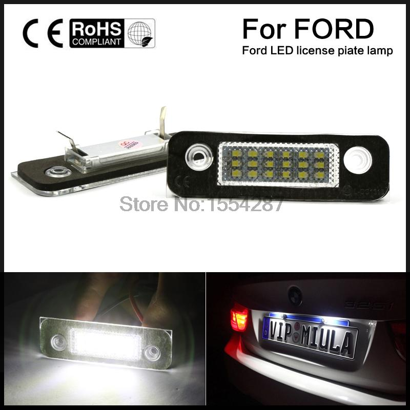 Perfect Fit White 18-LED License Plate Light Lamps For Ford Fusion Fiesta Mondeo (Fits: Ford Fiesta) 2pcs xenon white led license plate light assemblies for ford fusion fiesta mondeo mk2 12v led rear register number license light