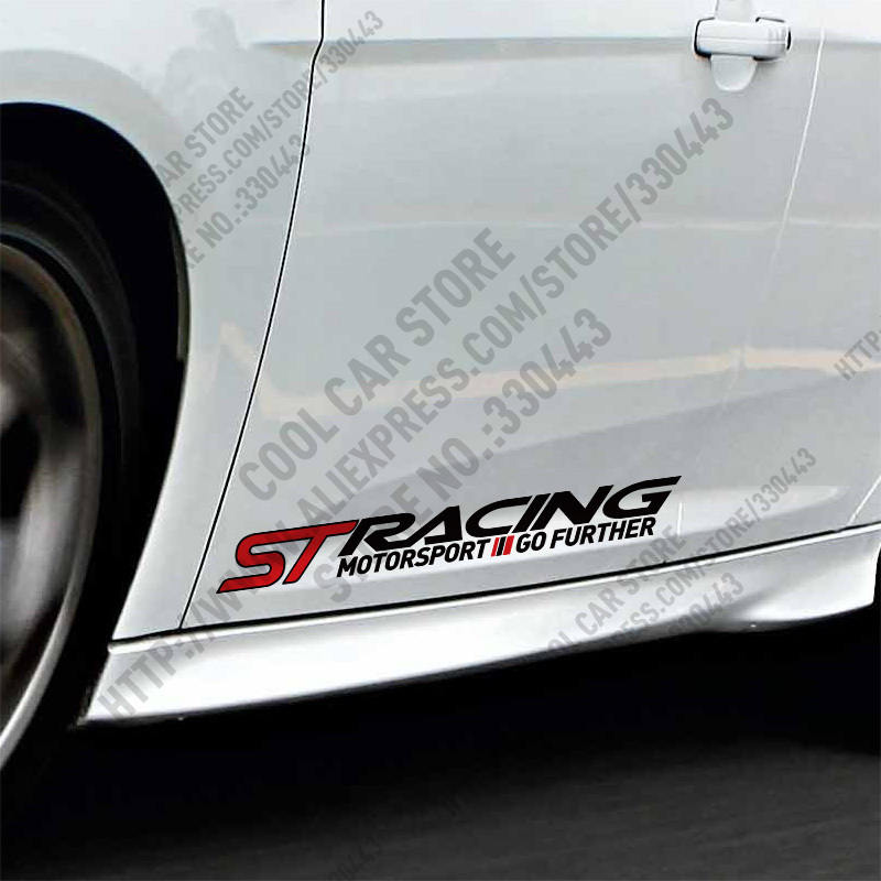 1 Pair ST RACING Car Stickers Door sticker For FORD FOCUS 2 focus 3 Mondeo Fiesta Kuga MK2 MK3 and so on