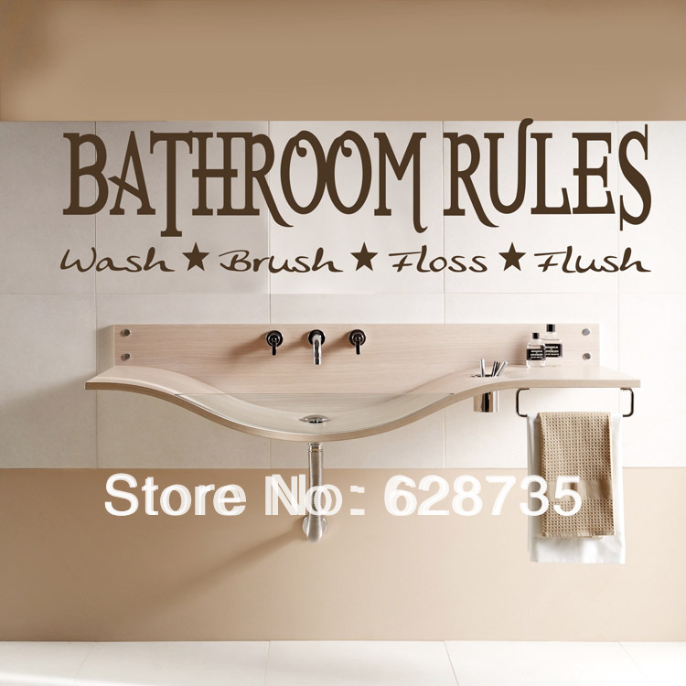 90x24cm hot selling modern bathroom rules decal sticker 6 home decor rules to break now