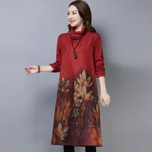 موضة جديدة 2019 الخريف النساء فساتين حجم كبير طباعة عادية القطن الياقة المدورة الشتاء الصوفية طويلة الأكمام سميكة فستان Vintage