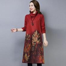 Moda nowy 2019 jesień kobiety sukienki Plus rozmiar wydruku na co dzień bawełna z golfem zima wełniane z długim rękawem gruby sukienka vintage