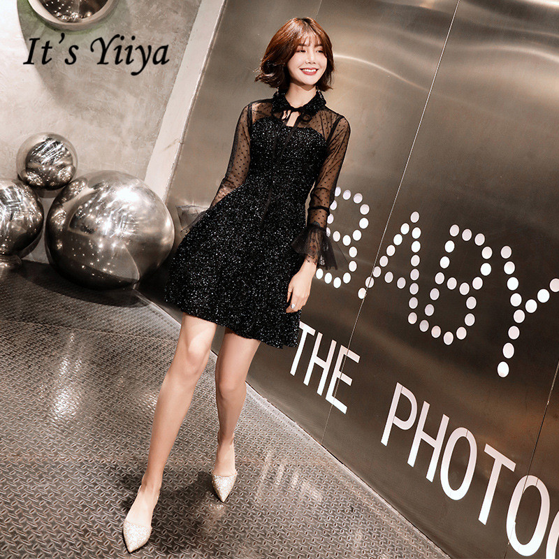 It's YiiYa Cocktail Dresses Shining Sequined Bow Illusion Party Dress Lace A-line Long Sleeves Knee Length Formal Gowns E327