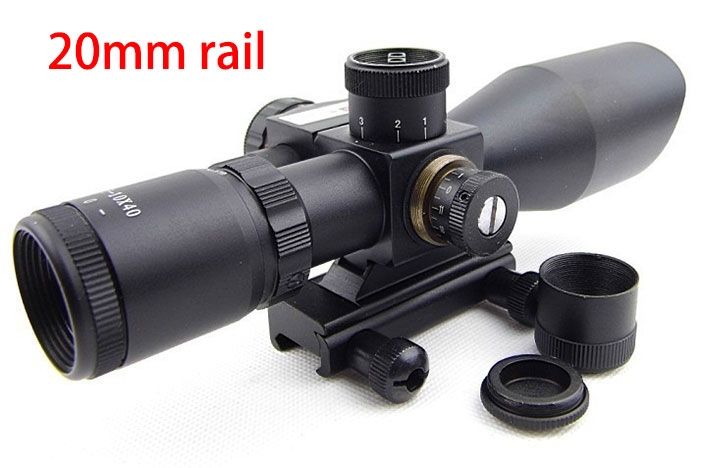 2.5-10x40 Reticle Red Green Dot Sight Rifle Scope With Red Laser for Airsoft Gun Hunting 6-0002 wholesale 4x30 m7 red green mil dot reticle hunting rifle scope side mounted airsoft target riflescope with red laser sight