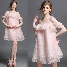 plus big size women clothing dress 2016 summer style korean vestidos cute  sweet organza strapless lace pink dress female A0609 fce39c430546