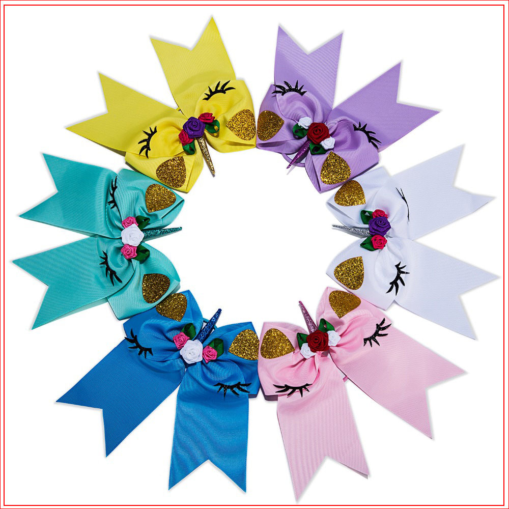 7 Inch 2019 New Unicorn Hair Bows Flower Cheer Bows Elastic Hair Bands Polyester Ribbon Kids Girls Hair Accessories(China)
