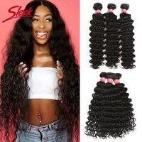 Sleek бразильские волосы плетение пучки 8 до 28 30 дюймов пучки волос глубокая волна пучки волос Remy человеческие волосы для наращивания 1/3/4 пучки...