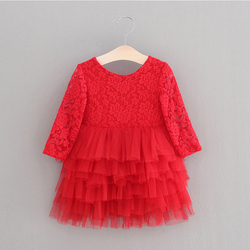 Girls Dresses Kids Princess Dress For Girls 2018 Spring Summer Costumes Red Lace Wedding Party Baby Children Sleeveless Clothes new girls dress brand summer clothes ice cream print costumes sleeveless kids clothing cute children vest dress princess dress