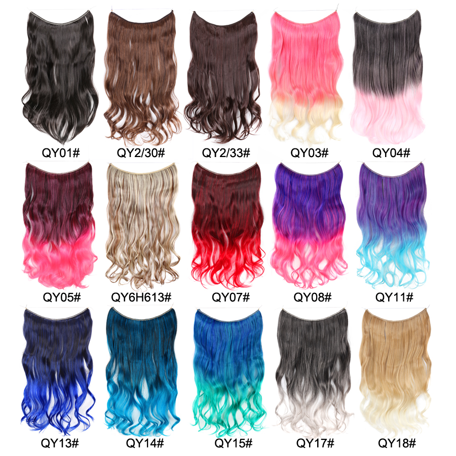 Leeons Ombre Long body wave Synthetic Hair Heat Resistant Hairpiece Fish Line Hair Extensions Secret Invisible Hairpieces