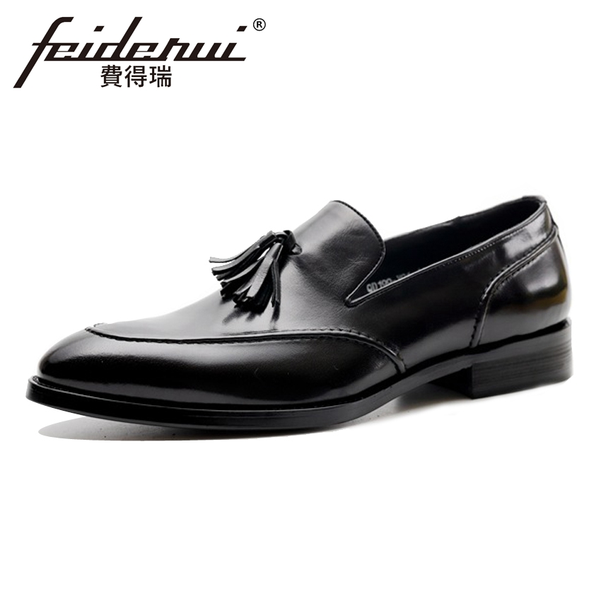 New Arrival Genuine Leather Men's Moccasin Wedding Loafers Round Toe Slip on Tassel Man Hand-Made Comfortable Casual Shoes HMS46 new fashion spring summer round toe slip on tassel loafers men moccasin car shoes casual boat shoes