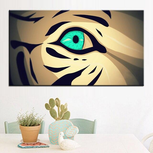 הדפסת גודל גדול עין נמר ציור שמן אמנות קיר תפאורה ציור קיר ציור ללא מסגרת תמונה לסלון