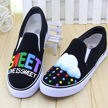 Foot Wrapping Women's Canvas Shoes Personalized Hand-painted Shoes Lover's FlatS Shoes Low Graffiti Shoes Comfortable Rubber