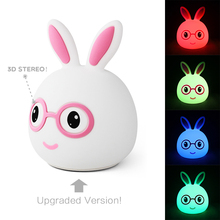 New LED Rabbit Night Light  for Children Baby Kids Gift Animal Cartoon Decorative Lamp Bedside Bedroom Living Room 7 Dry Battery цена в Москве и Питере