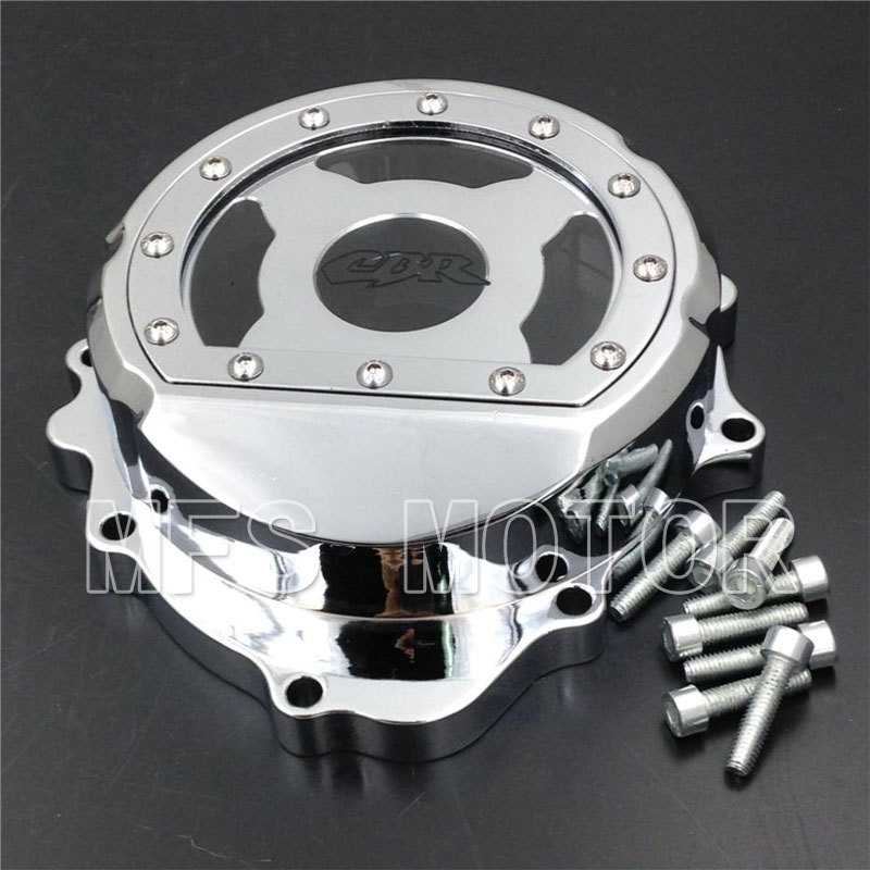 Motorcycle motor Left Billet Engine Stator cover see through For Honda CBR600RR F5 2007 2008 2009 2010 2011 2012 CHROME engine alternator clutch ignition cover set kit for honda cbr600rr cbr 600 rr 2007 2008 2009 2010 2011 2012 2013 2014 2015 2016