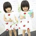New 2016 Children's Girls Dress Summer Baby Girl Princess Dresses Strawberry Sleeveless Vestido Infantil 1-3 Years Old GDR089