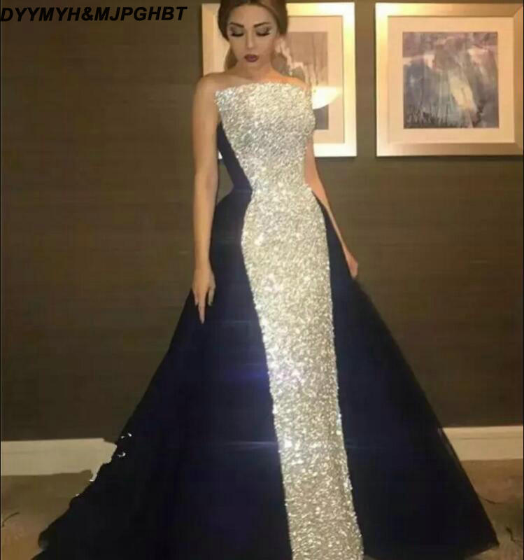 b62194c40335d Elegant New Saudi Arabic Long Evening Dresses Dubai 2019 Sequined Lace And  Satin Ball Gown Celebrity Evening Gowns-in Evening Dresses from Weddings &  ...